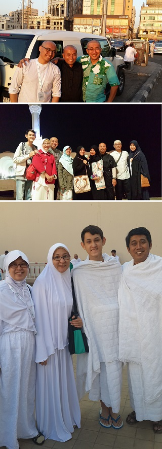 Keterangan foto (dari atas ke bawah): Para suami, founder Kubik Training yang tak pernah mati gaya. Umroh bersama keluarga founder Kubik. Umroh bareng keluarga itu nikmat.