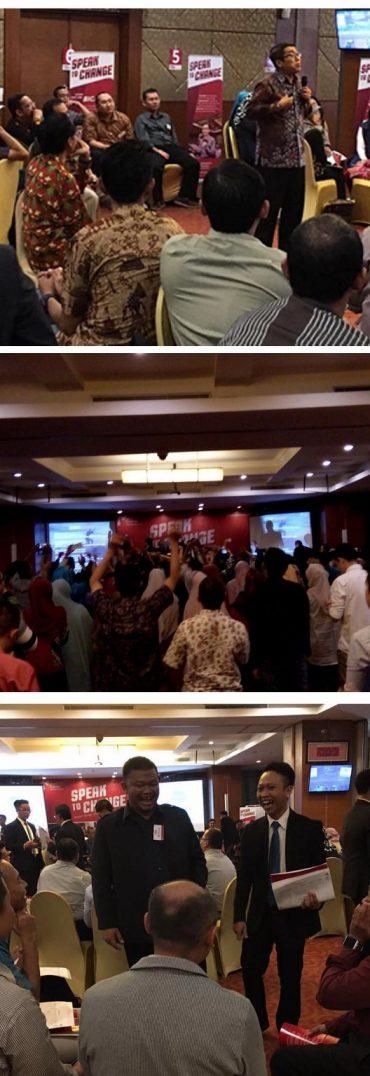 Jamil Azzaini dalam salah satu sesi di Speak To Change; Antusias peserta yang menggelora; unjuk presentasi di Sesi Bicara Berpengaruh