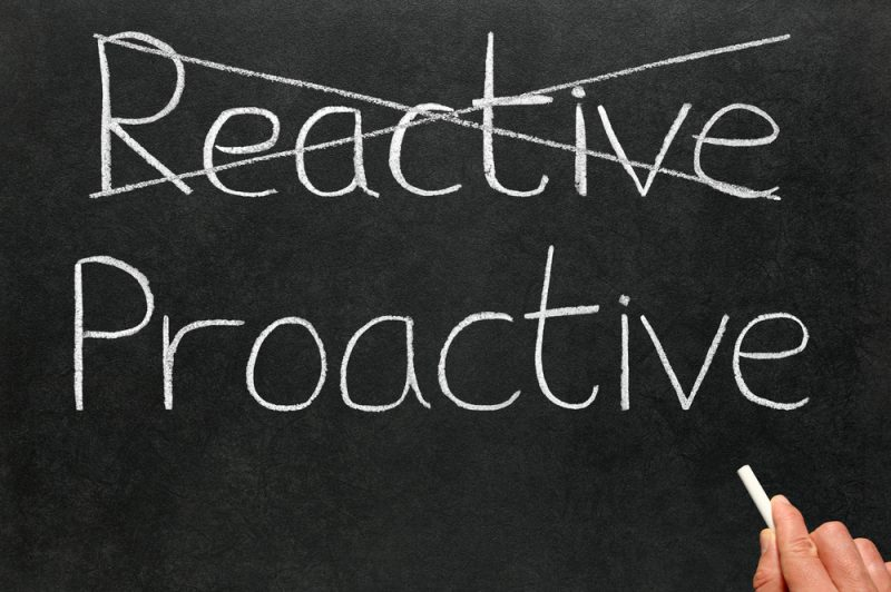reactive vs proactive justice Reactive business strategies are ones that respond to an event that has occurred, while proactive ones anticipate challenges and address them accordingly.