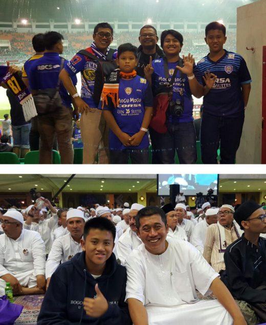 Bersama Fikar  menonton pertandingan final piala presiden;  di acara Zikir dan Shalawat di Masjid At Tin, Taman Mini Indonesia Indah