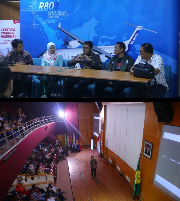 Saat konfrensi press Festival Trainer Nasional (atas) , Saat tampil di panggung Festival Trainer Nasional (bawah)